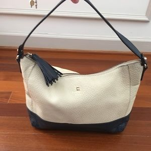 leather kate spade purse - cream and navy